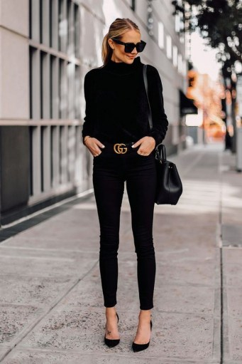Black chenille mock neck sweater black skinny jeans black pumps black gucci belt black satchel handbag