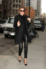 Fall street style jacket leather pants and black leather bag