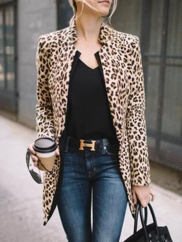 New khaki leopard print band collar long sleeve fashion coat