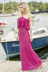Pink crochet summer top and skirt