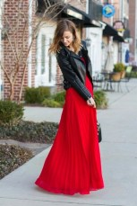 Beautiful red pleated maxi skirt