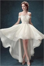 4 high low off the shoulder bridal dress with appliques source shmilypromcom