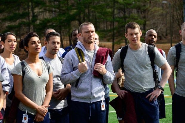"""QUANTICO - A diverse group of recruits has arrived at the FBI Quantico Base for training. They are the best, the brightest and the most vetted, so it seems impossible that one of them is suspected of masterminding the biggest attack on New York City since 9/11. """"Quantico"""" stars Priyanka Chopra as Alex, Dougray Scott as Liam, Jake McLaughlin as Ryan, Aunjanue Ellis as Miranda, Yasmine Al Massri as Nimah, Johanna Braddy as Shelby, Tate Ellington as Simon and Graham Rogers as Caleb. """"Quantico"""" was written by Josh Safran. Executive producers are Josh Safran, Mark Gordon and Nick Pepper. """"Quantico"""" is produced by ABC Studios. (ABC/Guy D'Alema) PRIYANKA CHOPRA, JAKE MCLAUGHLIN, BRIAN J. SMITH"""