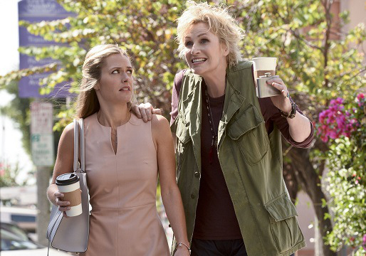 """ANGEL FROM HELL, starring Jane Lynch (right), is CBS's new single camera comedy about Amy (Lynch), a colorful, brassy woman who insinuates herself into Allison's (Maggie Lawson) organized and seemingly perfect life, claiming to be her """"guardian angel."""" Photo: Darren Michaels/CBS ©2015 CBS Broadcasting, Inc. All Rights Reserved"""