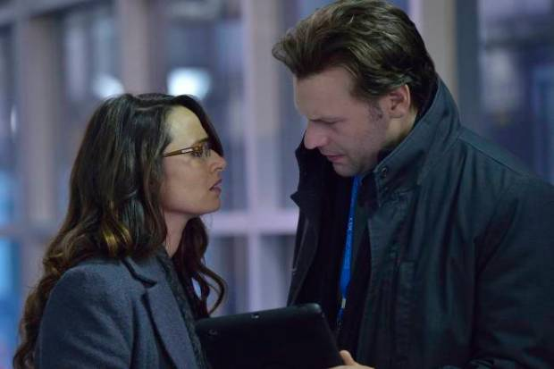 THE STRAIN -- Pictured: (L-R) Mia Maestro as Nora Martinez, Cory Stoll as Ephraim Goodweather. CR. Michael Gibson/FX