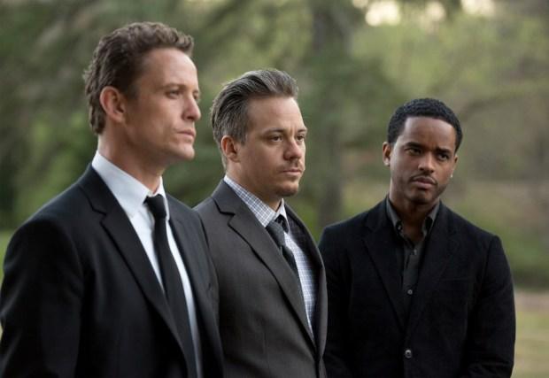 GAME OF SILENCE -- Pilot -- Pictured: (l-r) David Lyons as Jackson Brooks, Michael Raymond-James as Gil Harris, Larenz Tate as Shawn Polk -- (Photo by: Bob Mahoney/NBC)