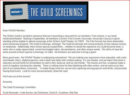 WGAW Guild Screenings Capture