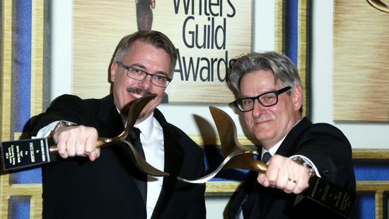 Mandatory Credit: Photo by REX/Shutterstock (5586623c) Vince Gilligan and Peter Gould 68th Annual Writers Guild Awards, Press room, West Coast Ceremony, Los Angeles, America - 13 Feb 2016