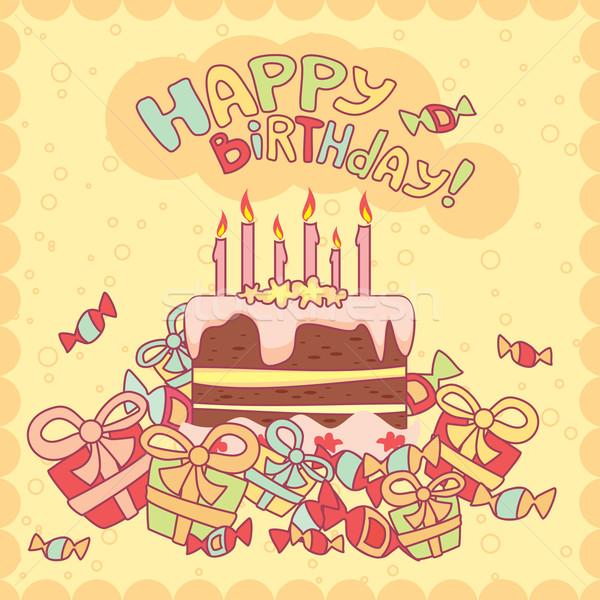 快樂 · 生日 · 卡 · 蛋糕 · 蠟燭 · 禮品 - 插圖 © Alena Ryabchenko (SelenaMay) (#1316832) | Stockfresh