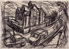 "Leon Kossoff, ""School Building Willesden,"" 1979, charcoal on paper"