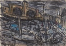 "Leon Kossoff, ""King's Cross Stormy Day no. 2,"" 2004, charcoal and pastel on paper"