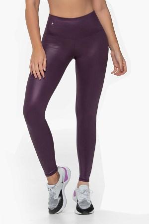 Leather Look Purple Legging