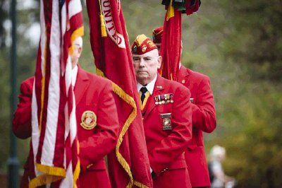 Members of the Eastex Detachment 779 Marine Corps League present the colors during the 240th birthday celebration for the United States Marine Corps on Tuesday at Town Green Park.