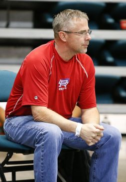 Conroe Oak Ridge wrestling coach Mike Morgan watches the 106 lb class match at the 2016 Region III 6A Boys Wrestling Championships held at the Leonard E. Merrell Center in Katy on February 12, 2016.