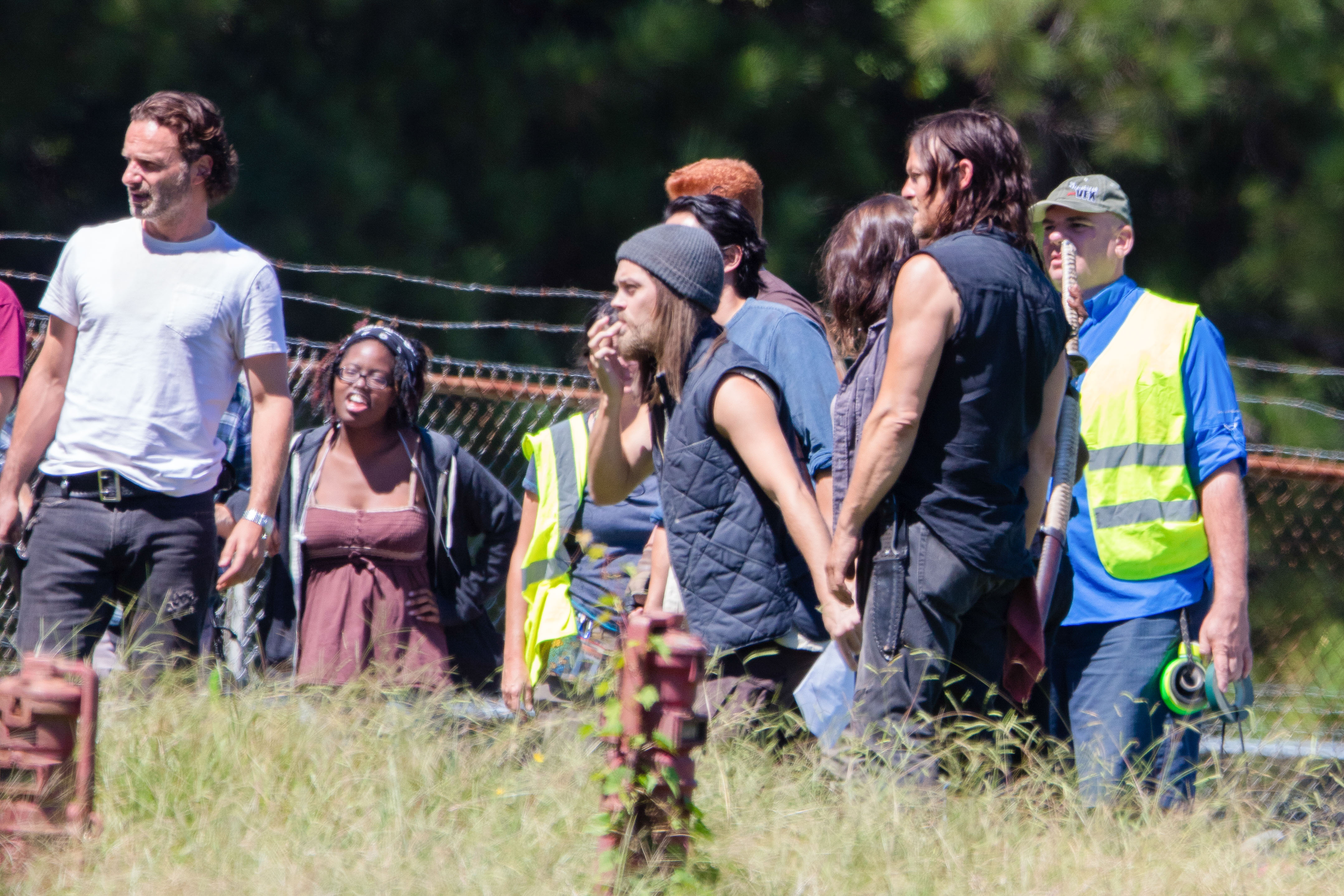 "*EXCLUSIVE* *SHOT ON 9/14/15* Griffin, GA - Is this the first we have seen of ""The Walking Dead'' character Paul ""Jesus' Monroe? The newest addition to AMC's hit zombie series was spotted filming seasons with Andrew Lincoln, Norman Reeds, Michael Cudlitz and a 'walker' in Georgia. While the actor's name has not yet been released, fans of the show have been eagerly awaiting the first look at the character known as ""Jesus' that ultimately gains the respect of Rick Grimes and his group. AKM-GSI September 16, 2015 To License These Photos, Please Contact : Steve Ginsburg (310) 505-8447 (323) 423-9397 steve@akmgsi.com sales@akmgsi.com or Maria Buda (917) 242-1505 mbuda@akmgsi.com ginsburgspalyinc@gmail.com"