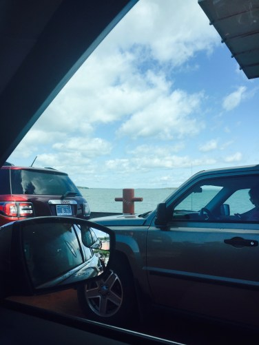Riding in our car on a ferry!
