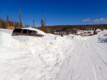 That guy isn't going anywhere! Also, give you an idea on the amount of snow :)