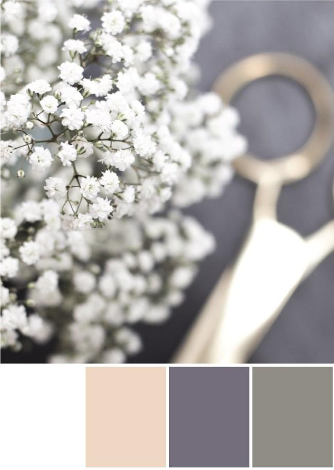 Farbpalette Kombination Weiß, Grau, Gold - Tweed & Greet