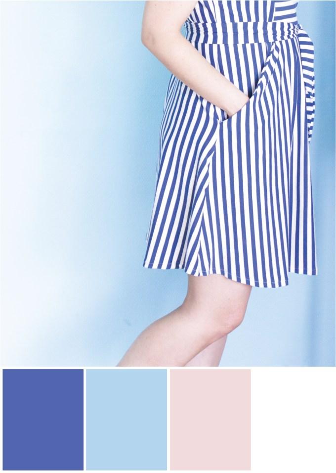 Farbpalette Farbkombination - Blau Weiß Nude - Tweed & Greet