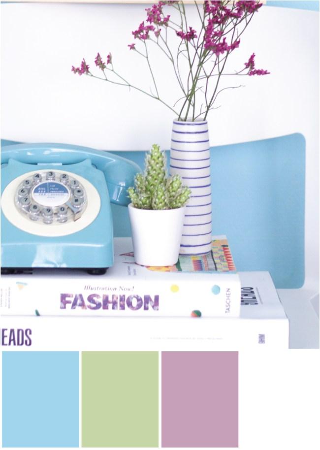 Farbpalette Farbkombination Blau Grün Rosé Weiß - Tweed & Greet