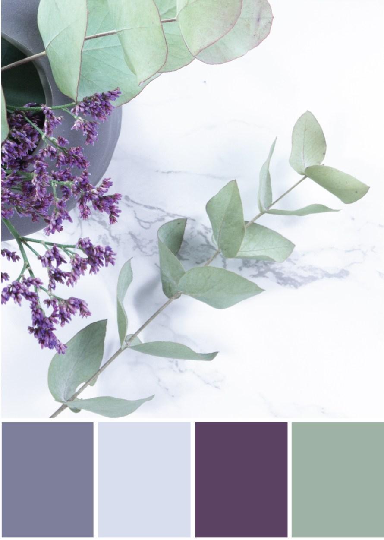 Farbpalette Grau - Lila Grün -Tweed & Greet