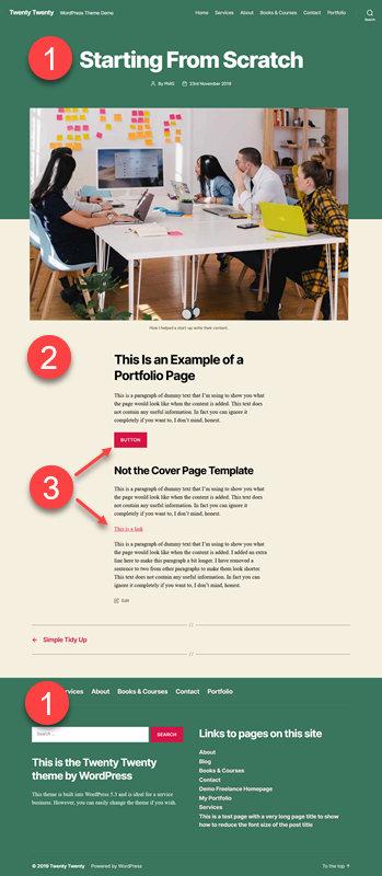 Background colors in Twenty Twenty theme by WordPress.