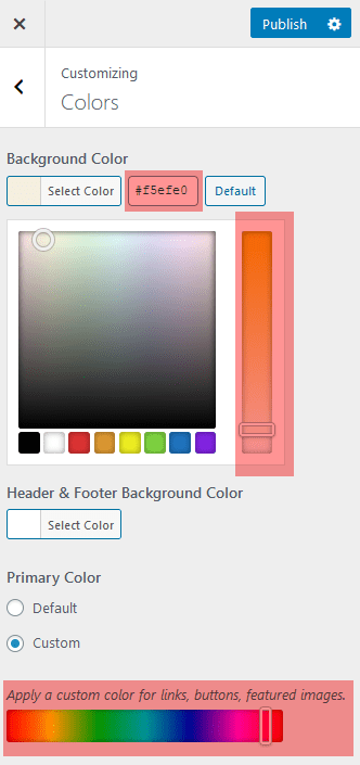 The primary color selector only has a slider. It does not have a box to type in a hex code.