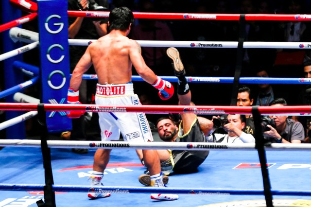 Manny Pacquiao vs Lucas Matthysse knockdown.