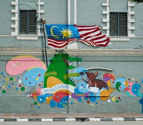 Malaysian flag graffiti