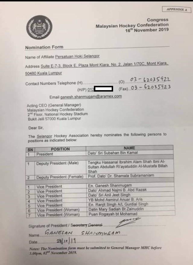 Selangor HA nomination