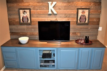 Barn Wood Shiplap Accent Wall + Bar With Cabinets