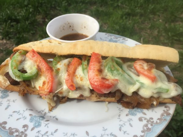 Chad's version of a philly cheesesteak sandwich
