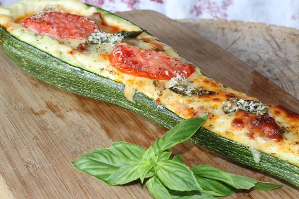 Pizza Stuffed Zucchini Boat