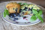 A plate of blueberry-basil muffins