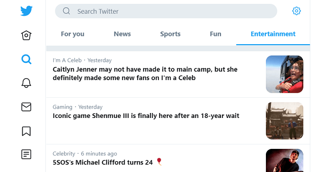 twitter explore page