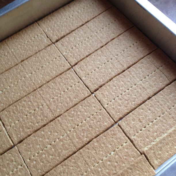 lining a cake pan with graham crackers for eclair cake