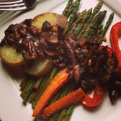 Roasted Veggies with Mushroom-Merlot Sauce