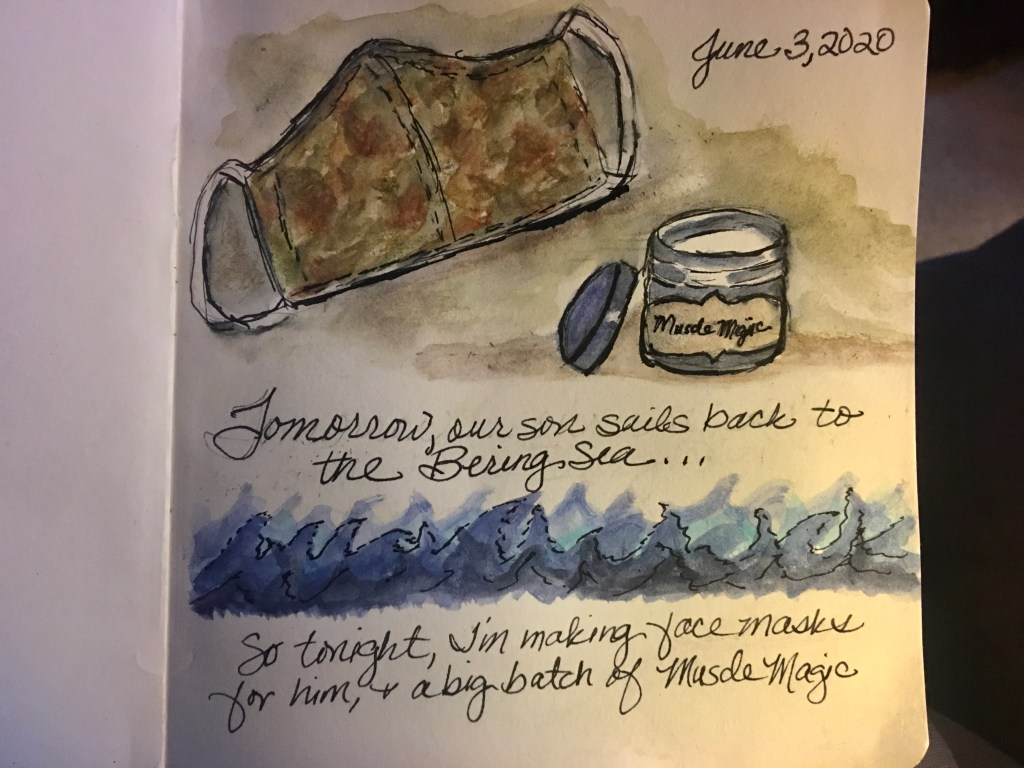 Watercolor picture of a face mask and an uncapped jar