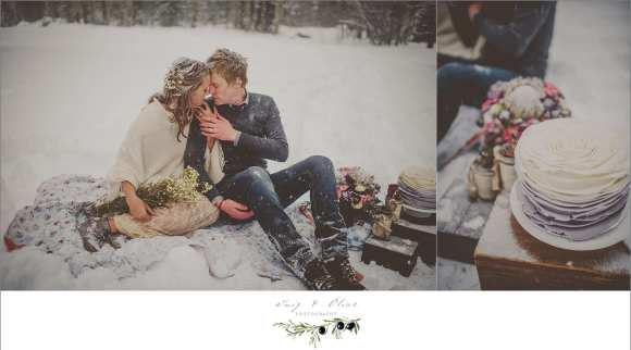 winter wedding with snow pictures