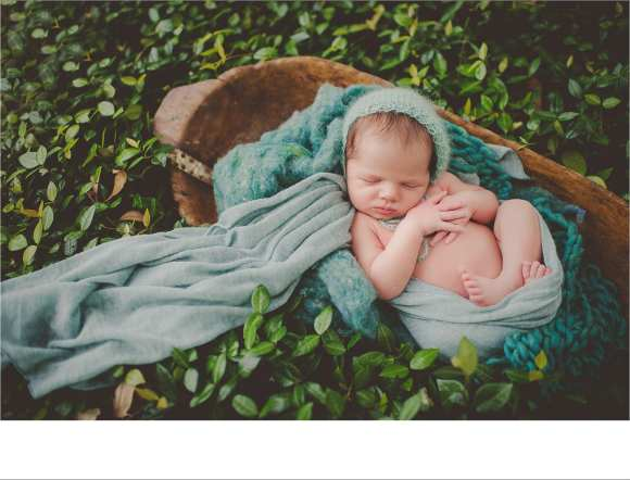 baskets, bonnets, swaddled newborns, outdoor sessions