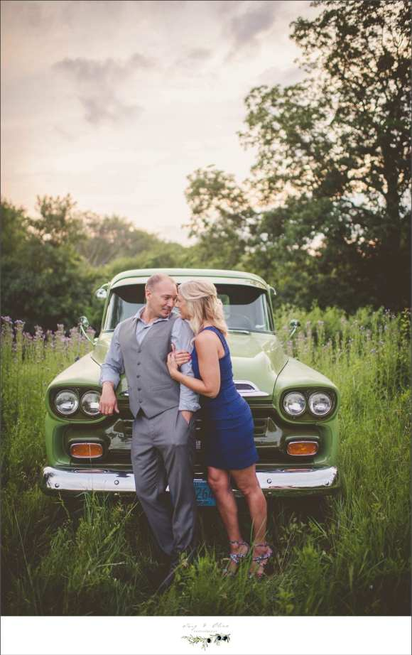 green truck, blue dress, gray suit, way to go Joe, engagement sessions, Twig and Olive photography