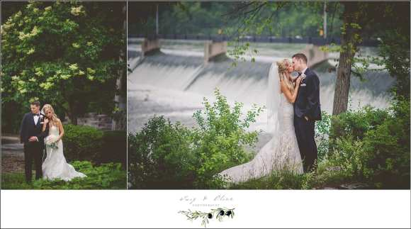 bride and groom with a waterfall