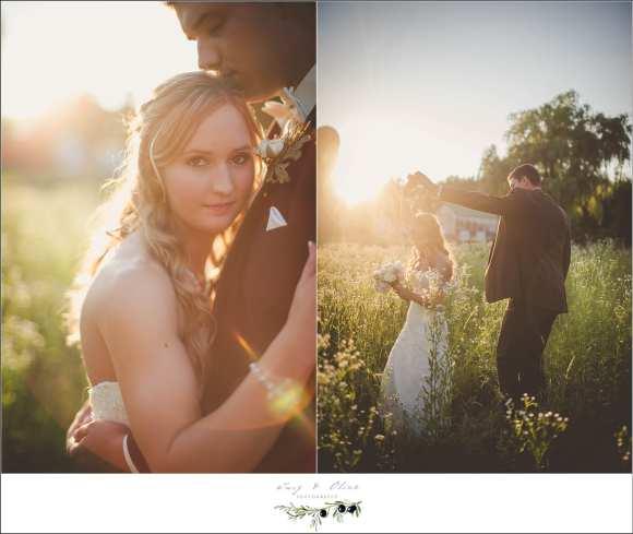 sunset wedding portraits in field