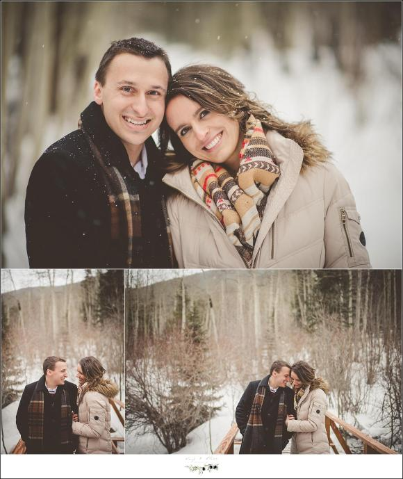 winter engagement session snowing