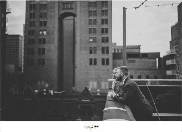 black and white rooftop wedding portrait