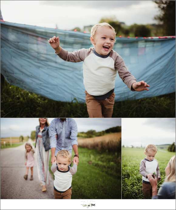 family photography session in a field