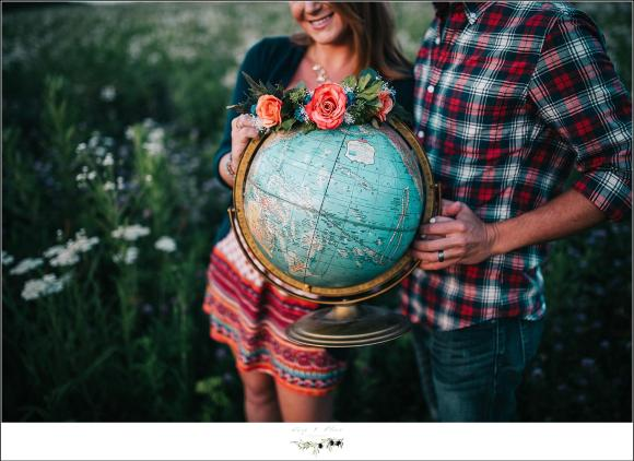 Flower wreath around globe