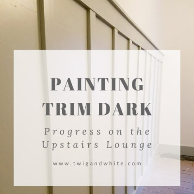 Progress on the Upstairs Lounge – Painting the Trim Dark