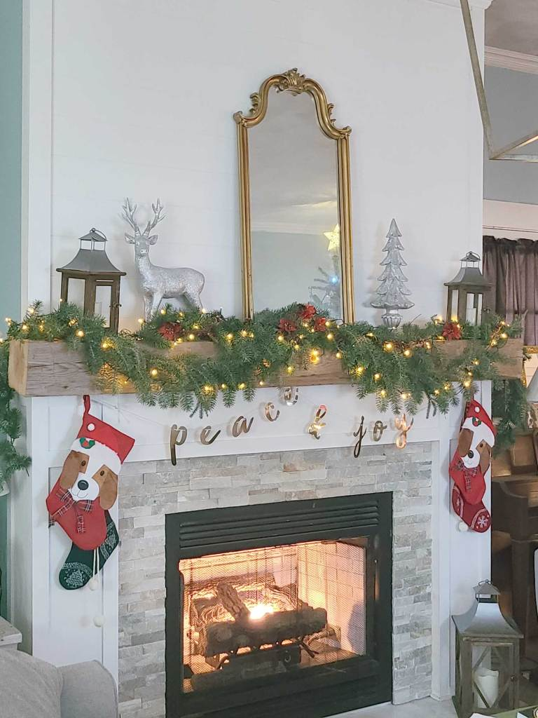 Christmas mantle with greenery