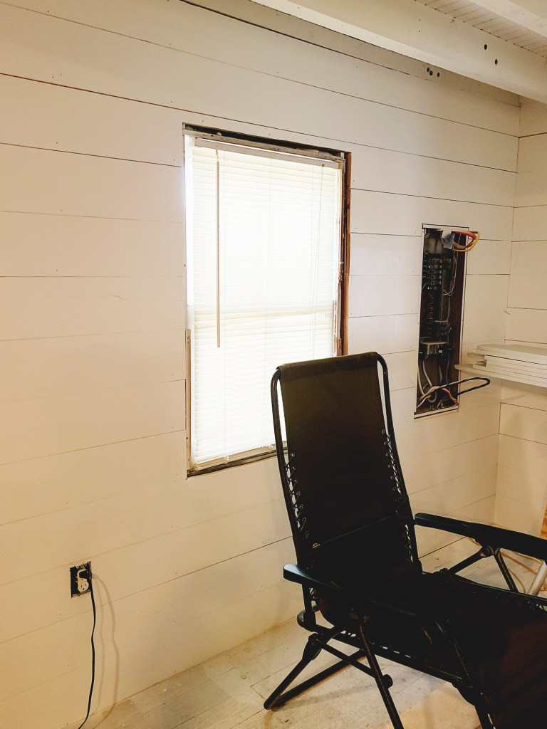painting the shiplap white